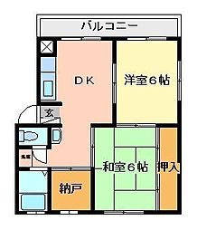 Kハイツ[1-106号室]の間取り