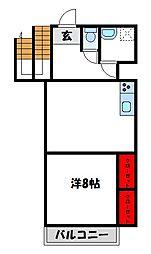 JR鹿児島本線 赤間駅 徒歩8分の賃貸アパート 2階1LDKの間取り