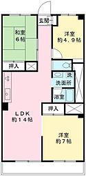 京王北野マンション E号棟[706号室]の間取り