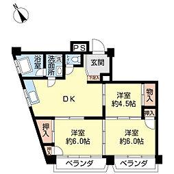 ハイツ寿福[5階]の間取り