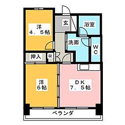 第13オーシャンビル[8階]の間取り