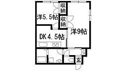 大阪府箕面市百楽荘4丁目の賃貸アパートの間取り