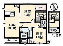 広島電鉄6系統 舟入川口町駅 徒歩14分の賃貸アパート 2階2LDKの間取り
