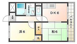 大阪府摂津市鶴野2丁目の賃貸マンションの間取り