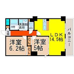愛知県名古屋市中村区中島町2丁目の賃貸マンションの間取り