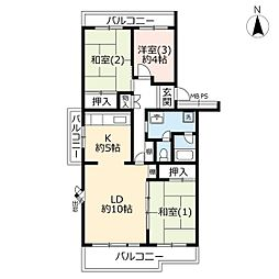 URパークシティ鴻巣駅前プラザ第二 4階3LDKの間取り
