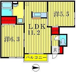 サンライフ五番館[1階]の間取り