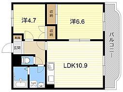 JR日豊本線 国分駅 4.2kmの賃貸マンション 1階2LDKの間取り