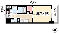 Avanti 6階1Kの間取り