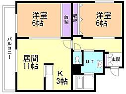 フィルマメント前田 3階2LDKの間取り