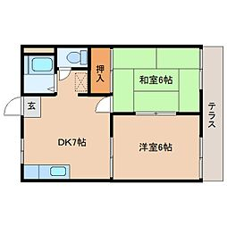 奈良県奈良市平松1丁目の賃貸アパートの間取り