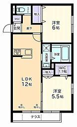 京王線 分倍河原駅 徒歩13分の賃貸マンション 1階2LDKの間取り