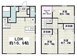 小田急江ノ島線 湘南台駅 バス10分 遠藤下車 徒歩4分の賃貸テラスハウス 3LDKの間取り