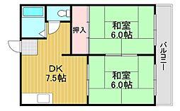 宝寿マンション 3階2DKの間取り