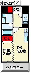 デザイナーズ ザ・レトロ 2階1DKの間取り