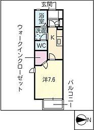 リブェールシャンブルB棟[1階]の間取り