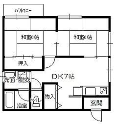 ファミーユ米田[202号室]の間取り