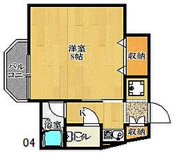 ナカタビル3番館 4階1Kの間取り