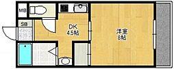 JR関西本線 平野駅 徒歩5分の賃貸マンション 4階1DKの間取り