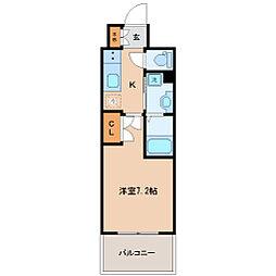 レジディア仙台上杉 14階1Kの間取り