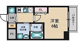 エステムコート新大阪8レヴォリス 3階1Kの間取り