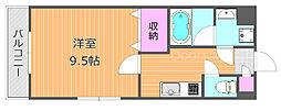 JR宇野線 大元駅 徒歩13分の賃貸マンション 5階1Kの間取り