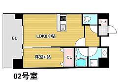 Osaka Metro谷町線 南森町駅 徒歩4分の賃貸マンション 11階1LDKの間取り