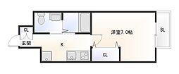 Osaka Metro御堂筋線 大国町駅 徒歩6分の賃貸マンション 3階1Kの間取り