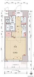 ベラジオ京都西院ウエストシティIII 3階1Kの間取り