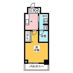 ステージグランデ上野 11階1Kの間取り