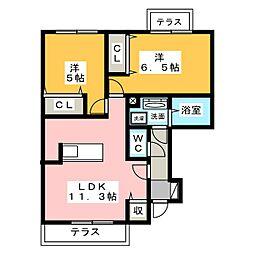 愛知県名古屋市港区大西2丁目の賃貸アパートの間取り