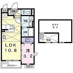 阪急箕面線 牧落駅 徒歩14分の賃貸アパート 2階1LDKの間取り