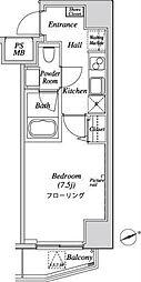 都営三田線 芝公園駅 徒歩9分の賃貸マンション 2階1Kの間取り