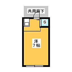 キヤマアパート 1階ワンルームの間取り