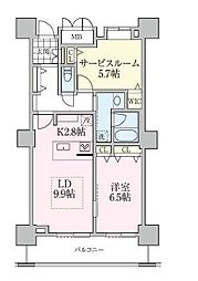 ロイヤルパークスタワー南千住 23階1SLDKの間取り