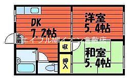 岡山県総社市溝口丁目なしの賃貸アパートの間取り