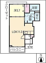 バードマウンテンII古宿[1階]の間取り