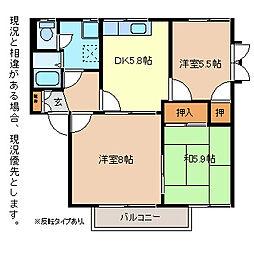フェリスコートM W棟[1階]の間取り