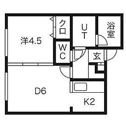 札幌市営東西線 バスセンター前駅 徒歩8分の賃貸アパート 2階1DKの間取り