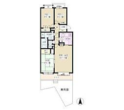 JR東海道本線 大船駅 徒歩13分の賃貸マンション 1階3LDKの間取り