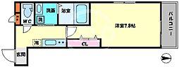 ドリームフジ桜川 1階1Kの間取り