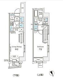 東京メトロ半蔵門線 表参道駅 徒歩12分の賃貸マンション 14階1LDKの間取り