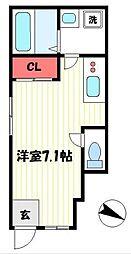 メルセデスハイム 1階ワンルームの間取り