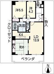茶屋ヶ坂パークマンション[5階]の間取り