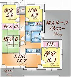 須磨妙法寺アーバンコンフォート[710号室]の間取り