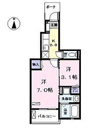 愛知県あま市坂牧阿原の賃貸アパートの間取り