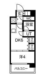 S-RESIDENCE淀屋橋 10階1DKの間取り
