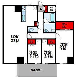 JR鹿児島本線 千早駅 徒歩10分の賃貸マンション 2階3LDKの間取り