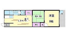 兵庫県神戸市兵庫区島上町2丁目の賃貸マンションの間取り