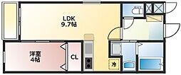 西鉄天神大牟田線 花畑駅 徒歩15分の賃貸マンション 4階1LDKの間取り